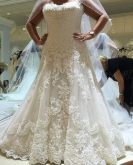 Beaded lace embroidery wedding dress for plus size brides