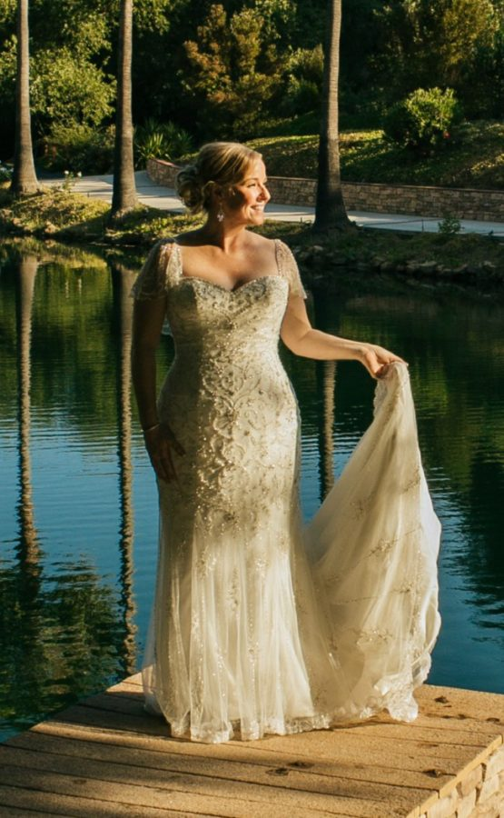Flutter sleeve plus size wedding dress from The Darius Collection
