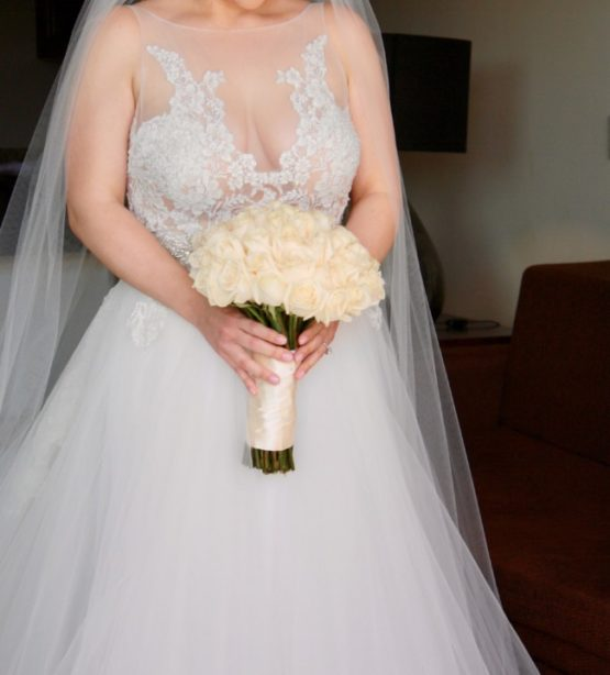 Illusion neckline plus size lace wedding gowns from Darius Bridal