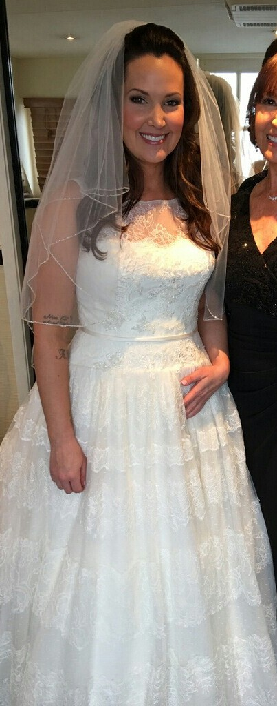 Plus Size Wedding Gown with Tiered a-line skirt from Darius Bridal