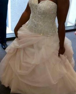 Plus size beaded drop waist wedding dress from the Darius Collection