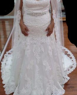 Plus size lace wedding dress with beaded belt