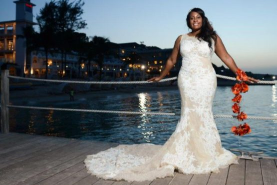 Sleeveless plus size lace wedding gown from the Darius Collection