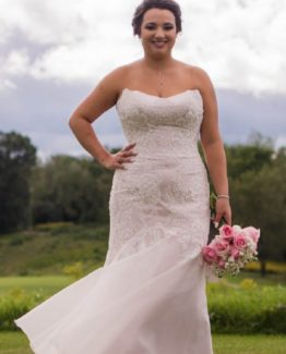 Strapless plus size lace bridal gown from Darius Couture