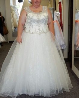 Style #ad2e6 - Plus size wedding gown with beaded bodice from Darius Bridal