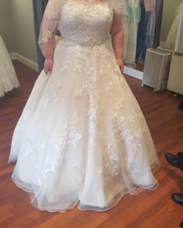 Style #b287a - Plus size lace wedding gown with belt from Darius Bridal