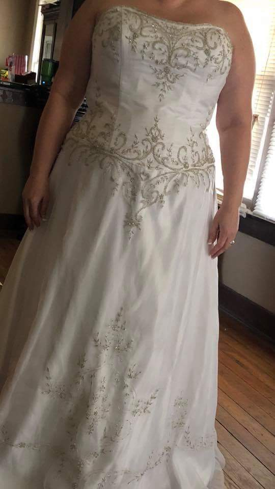 a-line plus size wedding gown with embrroidery from Darius Bridal