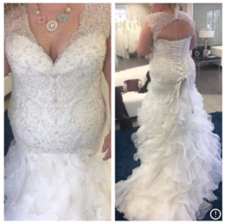 Cap Sleeve Plus Size Beaded Lace Wedding Gown From Darius Bridal