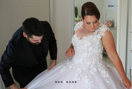 cap sleeve plus size wedding gown from Darius Bridal