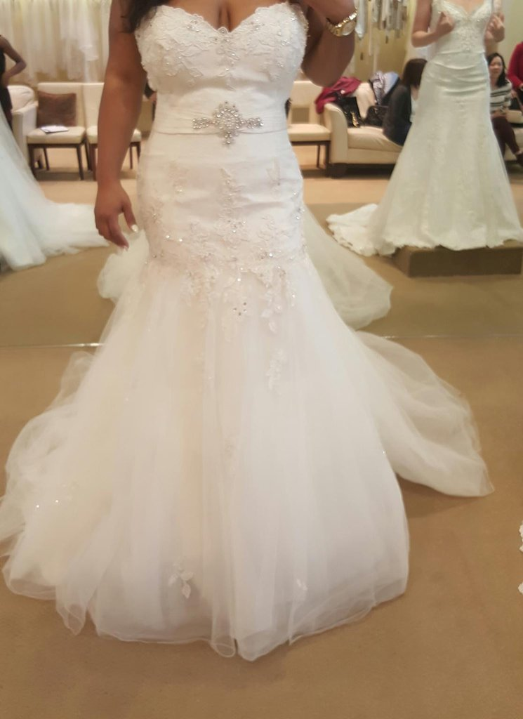 Style #14351 lace fit-and-flare plus size wedding dresses ...