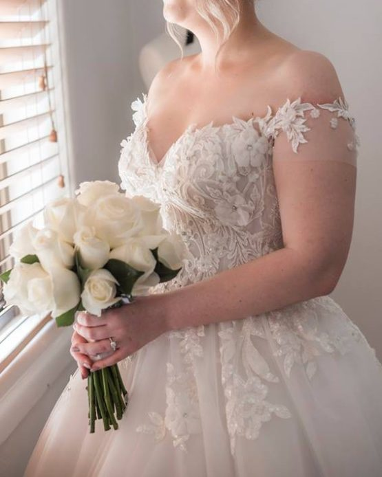 off the shoulder plus size wedding gowns from Darius Bridal