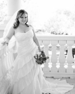 plus size wedding gown with tiered skirt
