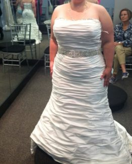 strapless plus size gathered wedding dresses