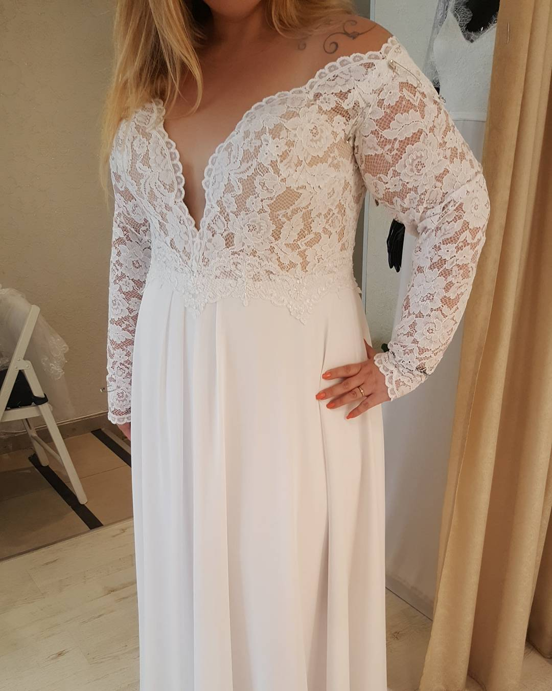 1447 Long Sleeve Empire Waist Wedding Gown For Plus Size Brides