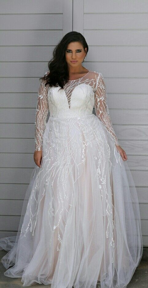92bf Sheer Long Sleeve Plus Size Bridal Dresses Darius Fashions