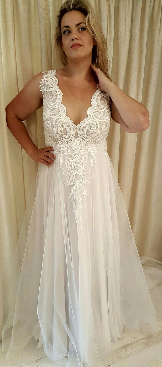 Style #93b6 - Plus size a-line wedding gown with v-neck line ...