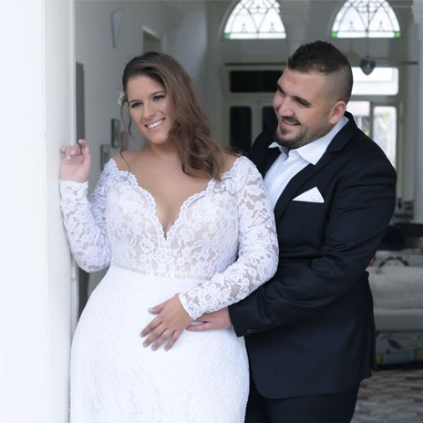 9cc3 V Neck Plus Size Wedding Gown With Lace Sleeves Darius Fashions