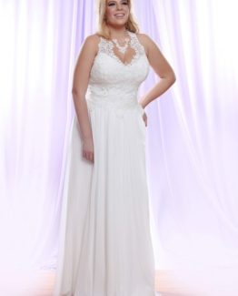 Style #PS1410 - 1550 - Halter Plus Size Wedding Dress with Pearl beaded Lace