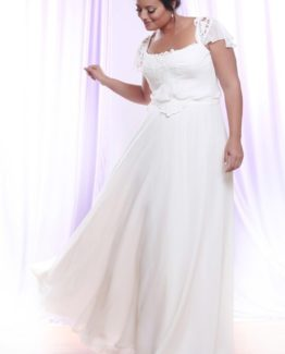 Style #PS1414 - 1650 - Flutter Sleeve Plus Size Wedding Dress with Empire Waist Line