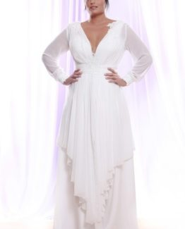 Style #PS1416 - Sheer Chiffon Long Sleeve Wedding Dress for Plus Size Brides