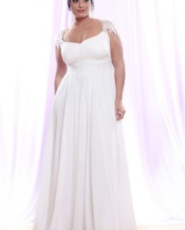Style #PS1420 - 1500 - Empire Waist Plus Size Bridal Gown with Pearl Lace Cap Sleeves
