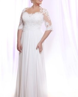 Style #PS1421 - 1750 - Plus Size Bridal Gown with Long Beaded Lace Sleeves on Illusion Fabric