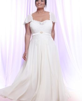Style #PS1424 - 1600 - Plus Size Bridal Gown with Short Flutter Sleeves and Empire Waist