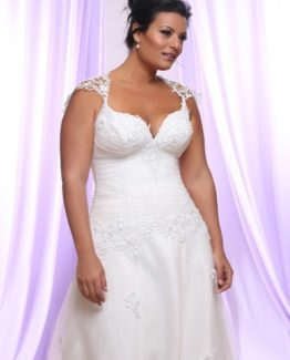 Style #PS143 - 1650 - Tulle Plus Size Wedding Dress with Pearls and Sequin on Lace