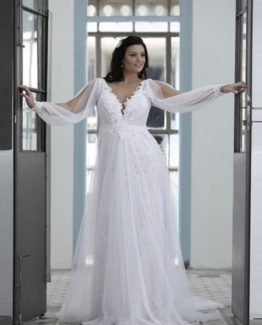 Style #PS1431 - 1950 - Loose Long Sleeve Wedding Dress for Plus Size Bride