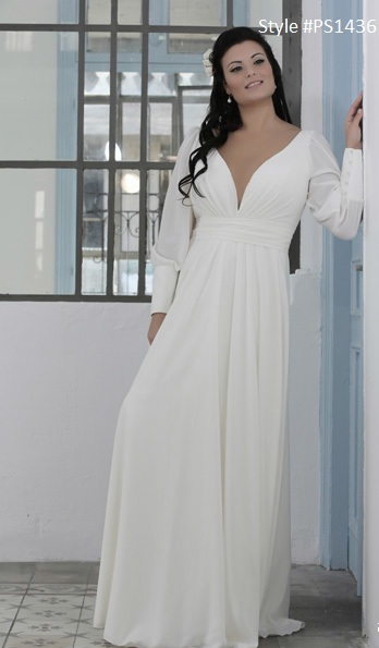 Style Ps1436 Long Sleeve Plus Size Bridal Gown With Empire Waist