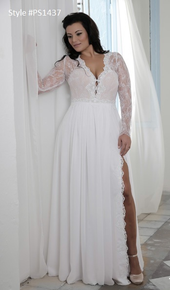 Style #PS1437 – Long Sleeve Lace Bridal Gown for Plus Size Bride ...