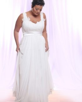 Style #PS145 - 1500 - Belted Empire Waist Plus Size Wedding Dress with Soutage Lace and Pearls