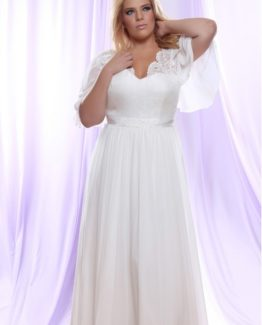 Style #PS146 - 1500 - Brocade Chiffon Plus Size Wedding Dress with Empire Waist