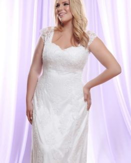 Style #PS149 Plus Size Wedding Dress with Sheer Lace Shoulder Straps
