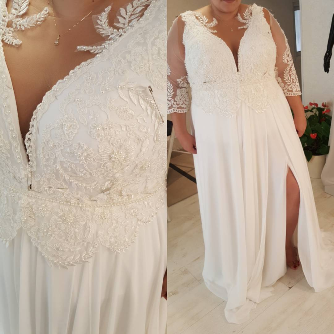 B4a3 V Neck Plus Size Wedding Gowns With 3 4 Sleeves Darius