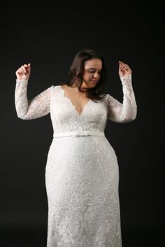 26aee0450bd8f  cff4 – long sleeve plus size wedding gown with scalloped neck line – Darius  Fashions